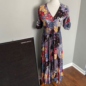Jaase Patchwork Indiana Floral Button Maxi Dress